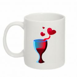 Кружка 320ml Glass of wine and hearts