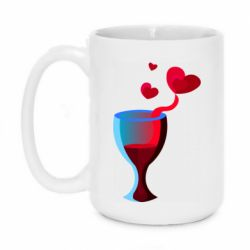 Кружка 420ml Glass of wine and hearts