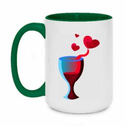 Кружка двухцветная 420ml Glass of wine and hearts