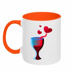 Кружка двухцветная 320ml Glass of wine and hearts