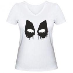 Женская футболка с V-образным вырезом Глаза Deadpool - FatLine