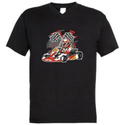 Мужская футболка  с V-образным вырезом Go Cart