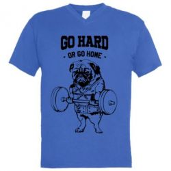 Мужская футболка  с V-образным вырезом Go hard or go home