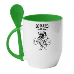 Кружка с керамической ложкой Go hard or go home