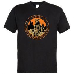 Чоловіча футболка з V-подібним вирізом Go outside worst case scenario a bear kills you