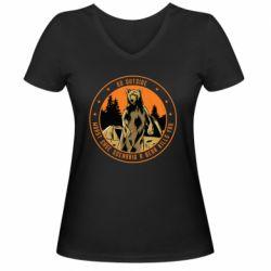 Жіноча футболка з V-подібним вирізом Go outside worst case scenario a bear kills you