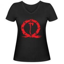 Жіноча футболка з V-подібним вирізом God Of War Logo
