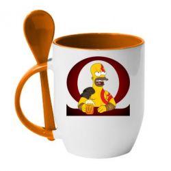 Кружка з керамічною ложкою God of war: Simpson