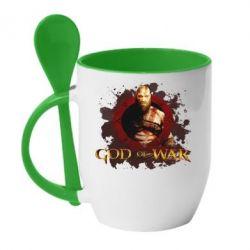 Кружка з керамічною ложкою God of War