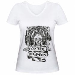 Женская футболка с V-образным вырезом God save the queen monochrome