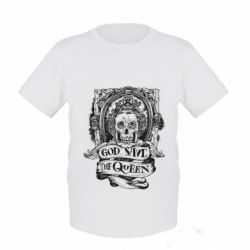 Детская футболка God save the queen monochrome