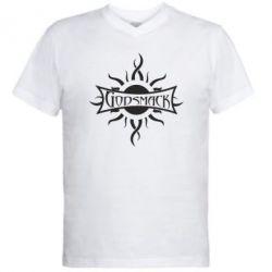 Мужская футболка  с V-образным вырезом Godsmack - FatLine