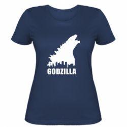 Женская футболка Godzilla and city - FatLine