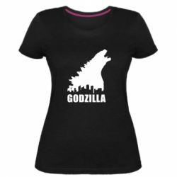 Женская стрейчевая футболка Godzilla and city - FatLine