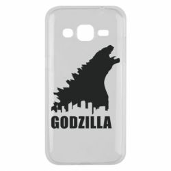Чехол для Samsung J2 2015 Godzilla and city - FatLine