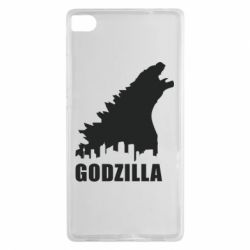 Чехол для Huawei P8 Godzilla and city - FatLine