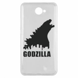 Чехол для Huawei Y7 2017 Godzilla and city - FatLine