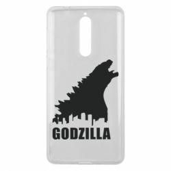 Чехол для Nokia 8 Godzilla and city - FatLine