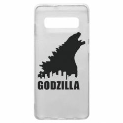 Чехол для Samsung S10+ Godzilla and city - FatLine