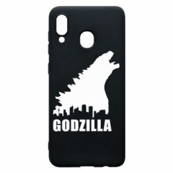 Чехол для Samsung A30 Godzilla and city - FatLine