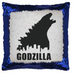 Подушка-хамелеон Godzilla and city