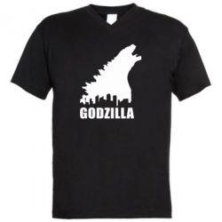 Мужская футболка  с V-образным вырезом Godzilla and city - FatLine