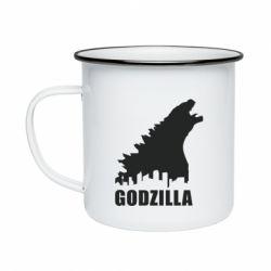 Кружка эмалированная Godzilla and city - FatLine