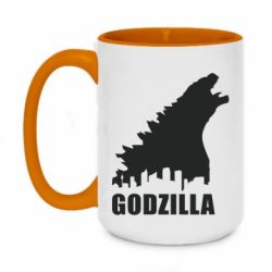 Кружка двухцветная 420ml Godzilla and city - FatLine
