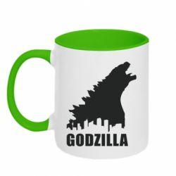 Кружка двухцветная 320ml Godzilla and city - FatLine