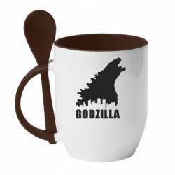 Кружка с керамической ложкой Godzilla and city - FatLine
