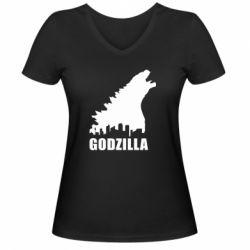 Женская футболка с V-образным вырезом Godzilla and city - FatLine
