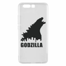 Чехол для Huawei P10 Plus Godzilla and city - FatLine