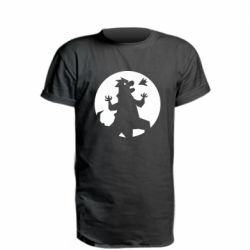 Удлиненная футболка Godzilla and moon