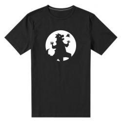 Мужская стрейчевая футболка Godzilla and moon