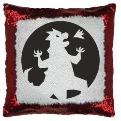Подушка-хамелеон Godzilla and moon