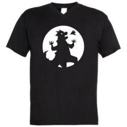 Мужская футболка  с V-образным вырезом Godzilla and moon
