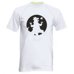 Мужская спортивная футболка Godzilla and moon