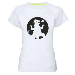 Женская спортивная футболка Godzilla and moon