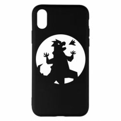 Чехол для iPhone X/Xs Godzilla and moon