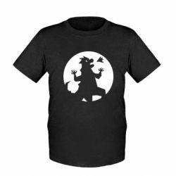 Детская футболка Godzilla and moon