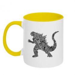 Кружка двоколірна 320ml Godzilla from the newspapers