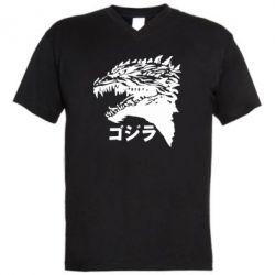 Чоловіча футболка з V-подібним вирізом Godzilla in japanese