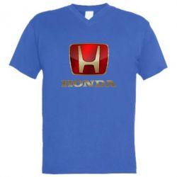Мужская футболка  с V-образным вырезом Gold Honda - FatLine