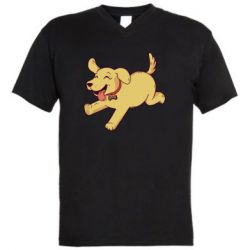 Мужская футболка  с V-образным вырезом Golden retriever