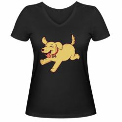 Женская футболка с V-образным вырезом Golden retriever
