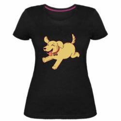 Женская стрейчевая футболка Golden retriever