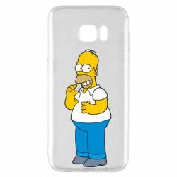 Чехол для Samsung S7 EDGE Гомер что-то затеял - FatLine
