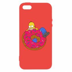 Купить Симпсоны, Чехол для iPhone5/5S/SE Гомер и Пончик, FatLine