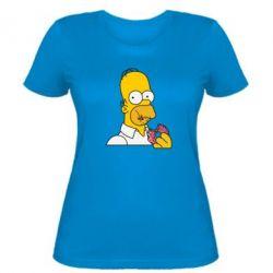 Женская футболка Гомер любит пончики