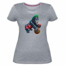 Женская стрейчевая футболка Gorilla and basketball ball